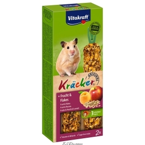 Лакомство для хомяков Vitakraft «Kracker Original + Frucht & Flakes» 112 г / 2 шт. (фрукты и хлопья)