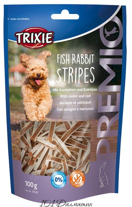 """Лакомство """"PREMIO Fish Rabbit Stripes"""" кролик/рыба"""