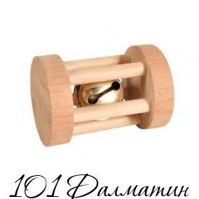 Игрушка-валик деревянный для грызунов со звонком
