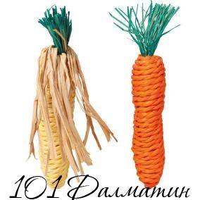 Игрушка для грызунов Морковь+кукуруза сизаль 15см