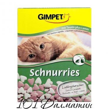 Витаминизированные «сердечки» с ягненком и ТГОС для кошек Gimpet «Schnurries»