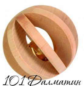 Шарик деревянный со звонком 6см