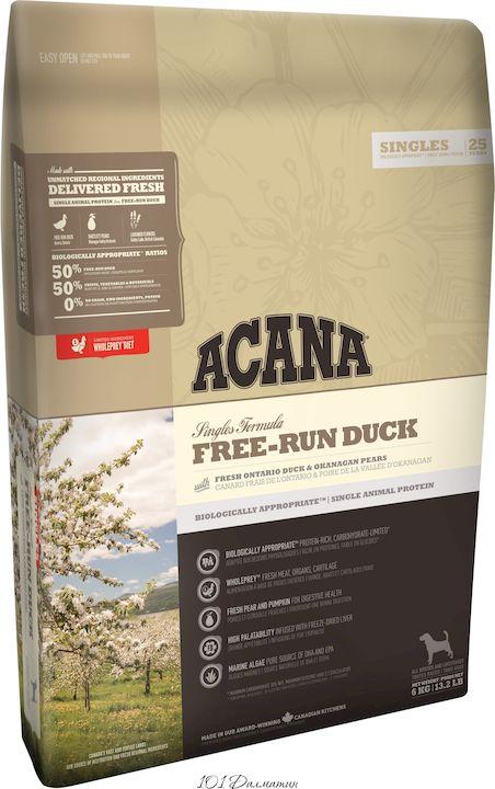 Акана Free-Run Duck для собак утка груша