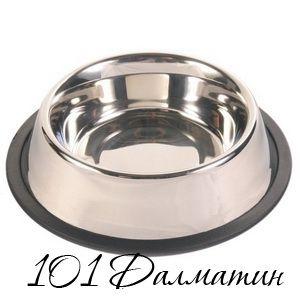 Миска металлическая для собак с резинкой