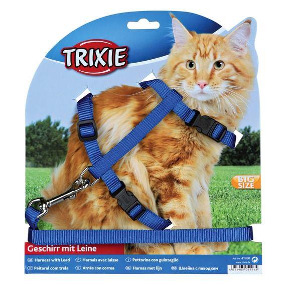 Шлея для котов с поводком XL, нейлон/41960