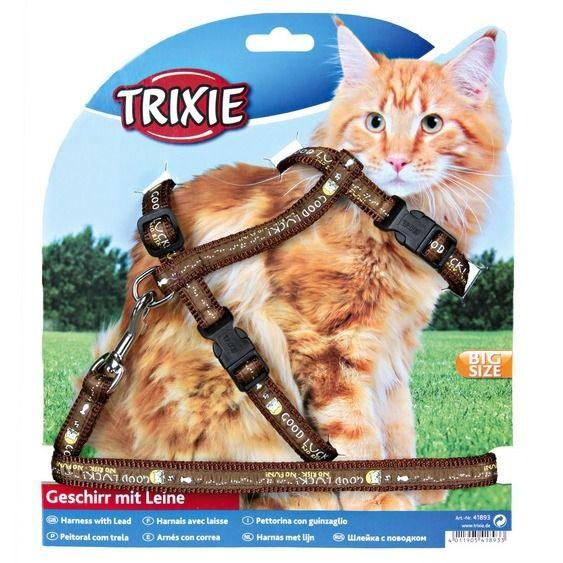 Шлея для котов с поводком XL, нейлон/41893