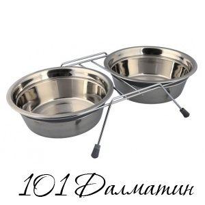 Подставка с железными мисками для собак