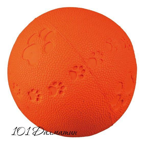 Мяч с пищалкой (резина) 6см, разоцветные+следы лап