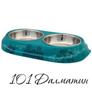Миска двойная для собак метал/меланин