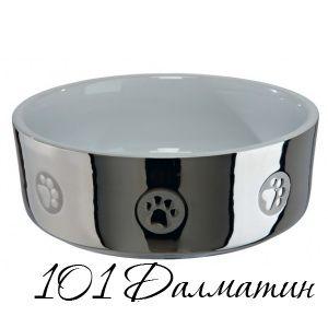 Миска керамическая для собак серебро