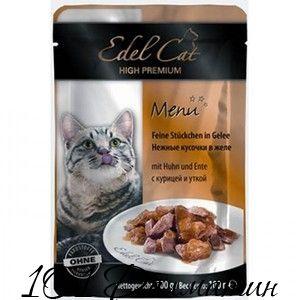 Эдель для котов кусочки курица с уткой
