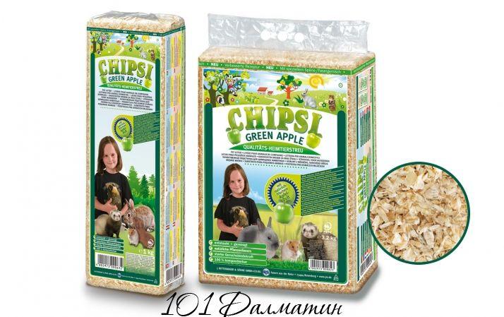 Опилки для грызунов Chipsi+зеленое яблоко