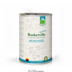 Baskerville консерва для собак телятина и лосось с пастернаком, шпинатом и зеленью