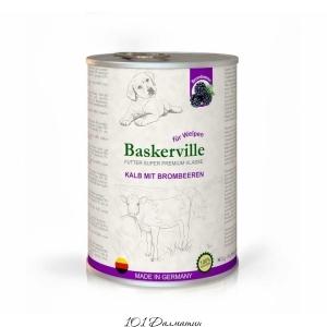 Baskerville консерва для щенков телятина с ежевикой