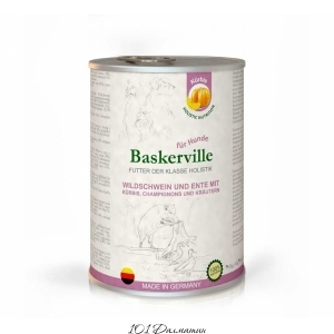 Baskerville консерва для собак кабан и утка с кабаком и зеленью